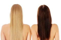 Long cheveu coiffure Salon de coiffure Femme avec les cheveux sains Photos libres de droits