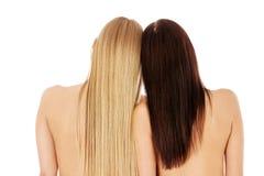 Long cheveu coiffure Salon de coiffure Femme avec les cheveux sains Image stock