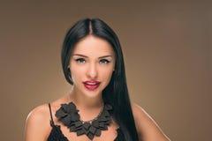 Long cheveu noir Verticale de femme de mode Photographie stock libre de droits