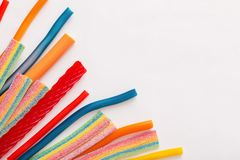 Long chewy jelly sweet candies. The long chewy jelly sweet candies royalty free stock photos