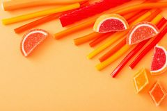 Long chewy jelly sweet candies. The long chewy jelly sweet candies royalty free stock photography