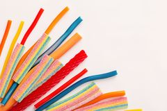 Long chewy jelly sweet candies. The long chewy jelly sweet candies stock photos