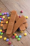 Long chocolate biscuits on heap with sweets Stock Photography