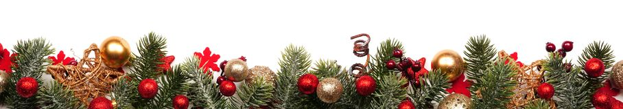 Free Long Christmas Border Banner Of Red And Gold Ornaments And Branches Isolated On White Royalty Free Stock Images - 162708439