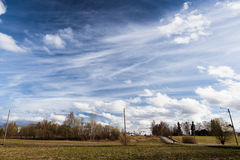 Long cirrus clouds skyscape. Panorama Royalty Free Stock Photos