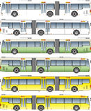 Long City bus vector. White  yellow and green theme Royalty Free Stock Photography
