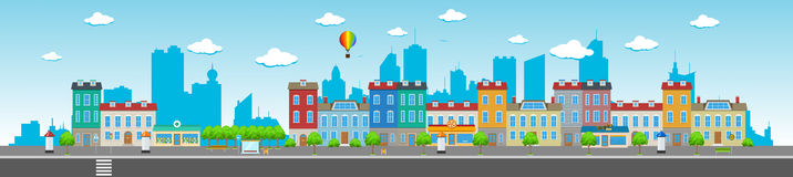 Long City Street. With various urban buildings, houses, shops, cafes, trees and facilities royalty free illustration