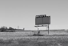 Long closed sign of a bygone era Drive In Movie Marquee. Black and White Drive In marquee Stock Image