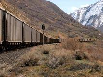 Long coal train 2. Coal train traveling through a mountain valley Royalty Free Stock Photos