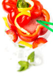 Long coctail in red pepper with decoration Royalty Free Stock Images