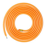 Long Coiled Flexible Pencil. Coiled long orange flexible glitter pencil on white background Royalty Free Stock Photos
