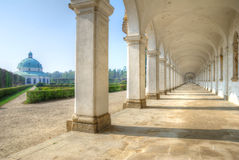 Long colonnade and baroque pavilion Stock Image