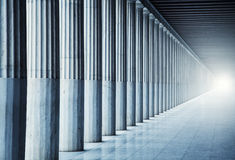 Long colonnade. With beaming light Royalty Free Stock Photos