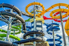 Colorful water slides in aquapark Royalty Free Stock Photography