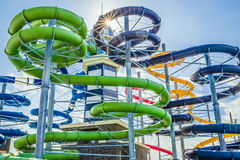 Colorful water slides in aquapark Royalty Free Stock Photo