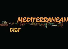 Long concept de nuage de Word de fond de Live The Mediterranean Diet Text Image libre de droits