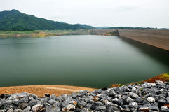 Long concrete dam in Thailand Royalty Free Stock Photo