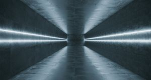Long Concrete Tunnel With Different Light Stripes And Empty Spac. E With Reflections.3D Rendering Illustration Royalty Free Stock Image