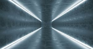Long Concrete Tunnel With Different Light Stripes And Empty Spac. E With Reflections.3D Rendering Illustration Royalty Free Stock Photo