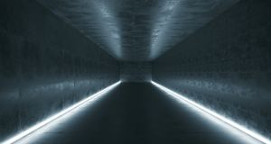 Long Concrete Tunnel With Different Light Stripes And Empty Spac. E With Reflections.3D Rendering Illustration Royalty Free Stock Photography