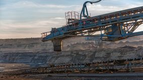 Long conveyor belt transporting ore Stock Photography
