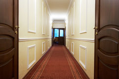 Long corridor. With a window in modern hotel Royalty Free Stock Images