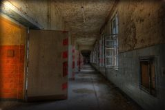 Long corridor. In an old abandoned building Stock Photography