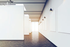 Long corridor in art gallery with dark wood floor, toned. Long corridor in an art gallery. White walls with posters and dark wood floor. Concept of modern art Royalty Free Stock Photography
