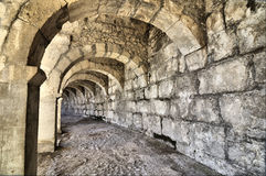 Long corridor of Aspendos amphitheatre Royalty Free Stock Photo