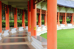 Long corridor in Chinese garden Stock Photos