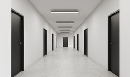 Long corridor with closed black doors. Long corridor with rows of closed doors. Concept of infinite opportunities for success and toughness of choice. 3d Royalty Free Stock Photos