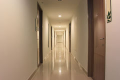 Long corridor of the condominium Royalty Free Stock Image
