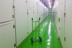 Long corridor, green floor and cart, self-storage facilities interior. Units with locks on both sides Stock Photos