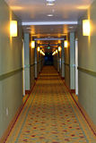 Long corridor or hallway. A nicely decorated long corridor or hallway with lights on the walls and patterned carpet Royalty Free Stock Image