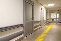 Long corridor in hospital. Clinic Royalty Free Stock Image