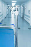 Long corridor in hospital with trolly and rack Stock Image