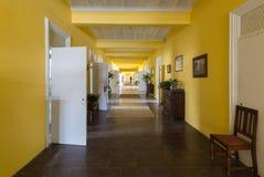 Long corridor inside Trans-Allegheny Lunatic Asylum Royalty Free Stock Photos