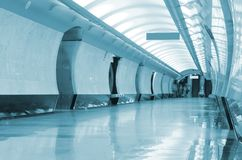 Long corridor in metro Royalty Free Stock Photography