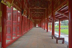Long Corridor. The Long Corridor next to the Can Thanh Palace Site in the Imperial City, Hue, Vietnam Royalty Free Stock Photo