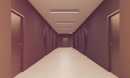 Long corridor in office, toned. Perspective of office corridor with two rows of doors and an exit in the end. Concept of alternative and choice. 3d rendering Royalty Free Stock Images