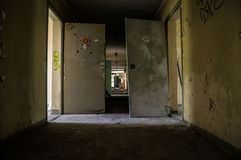 Long corridor. In an old abandoned building Royalty Free Stock Photography