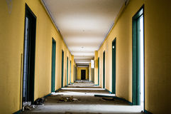 Long corridor. In an old abandoned building Stock Image