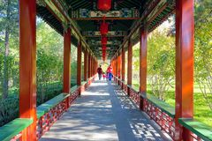 Long corridor. The scenery of long corridor of Yingze Park in Taiyuan, Shanxi, China Royalty Free Stock Images