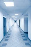 Long corridor in scientific laboratory. Bright blue tint Stock Photography