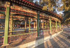 Long corridor of Summer Palace at dusk. Winter of Beijing Royalty Free Stock Photography
