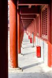 A long corridor in the temple. Chinese new year, historic building with a long corridor in the temple Royalty Free Stock Photos