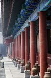 A long corridor in the temple. Chinese new year, historic building with a long corridor in the temple Royalty Free Stock Photo