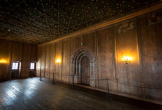 Long corridor with wooden floor at old castle Stock Photo