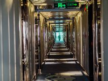 Long corridors appartment. Long corridors alley with many doors, appartment or hotel stock photo