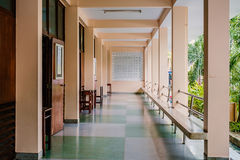 Long corridors or passage. In a building stock image
